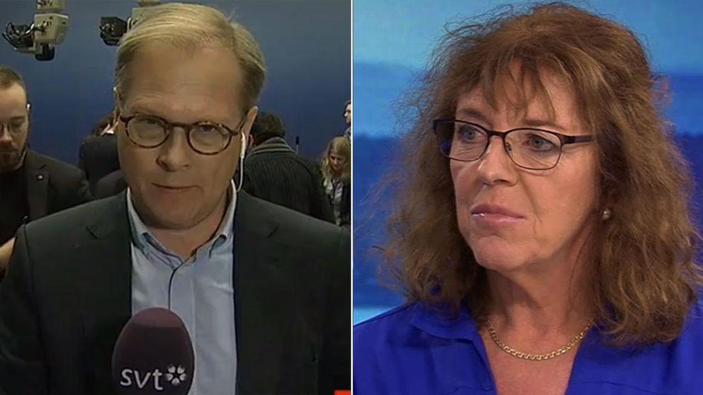 SVT:s politiska kommentatorer Mats Knutson och Margit Silberstein.