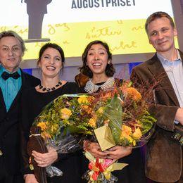 Alla pristagare. Från vänster Lars Lerin, Kristina Sandberg, Matilde Villegas Bengtsson och Jakob Wegelius.