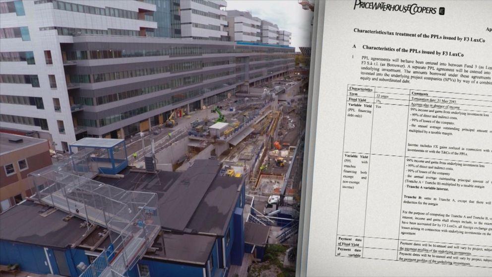 Hemliga dokument avslöjar ett avancerat skatteupplägg där ett företag som bygger sjukhuset Nya Karolinska flyttar pengar till skatteparadiset Luxemburg. (Bilden är ett montage)
