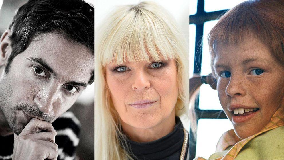 Malik Bendjelloul, Kajsa Grytt och Inger Nilsson i rollen som Pippi Långstrump.