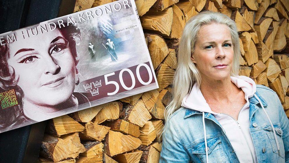 Operasångerskan Malena Ernman kritisk till ny 500-kronorssedel.