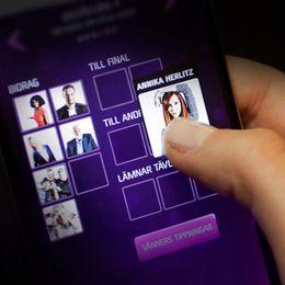 Melodifestivalens nya app. Grafik: SVT