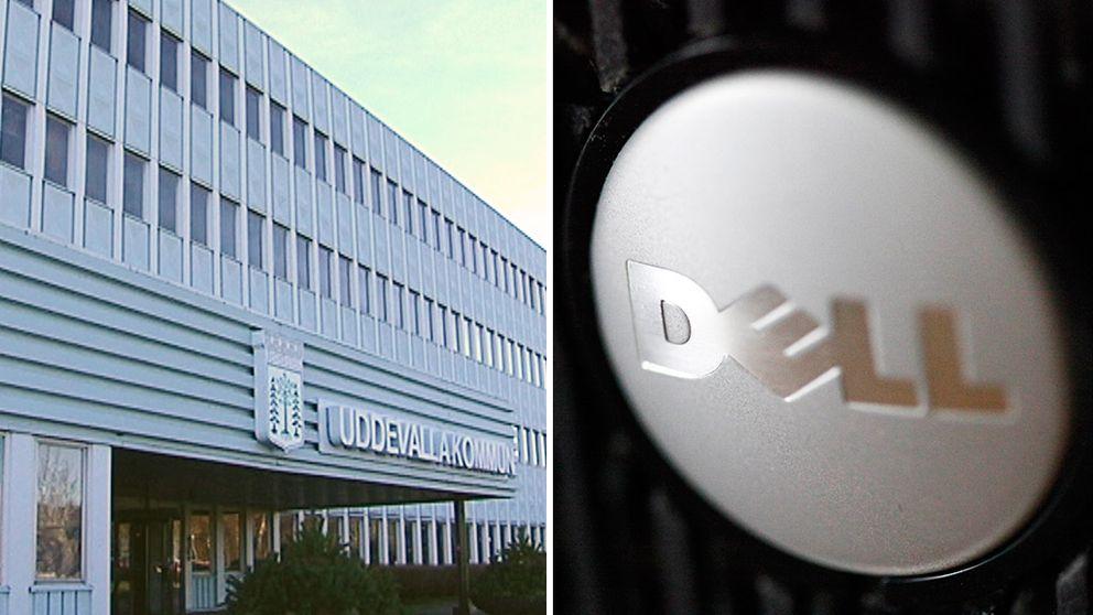 Uddevalla kommunhus. Dells logotyp.