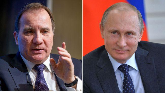 Statsminister Stefan Löfven och Rysslands president Vladimir Putin
