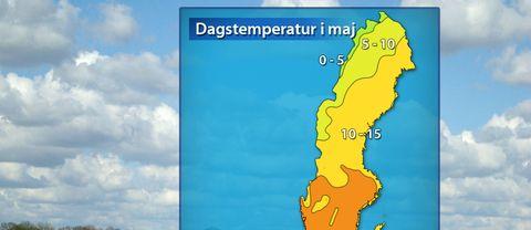 Normal dagstemperatur i maj. Kartan är mest representativ för mitten av maj.