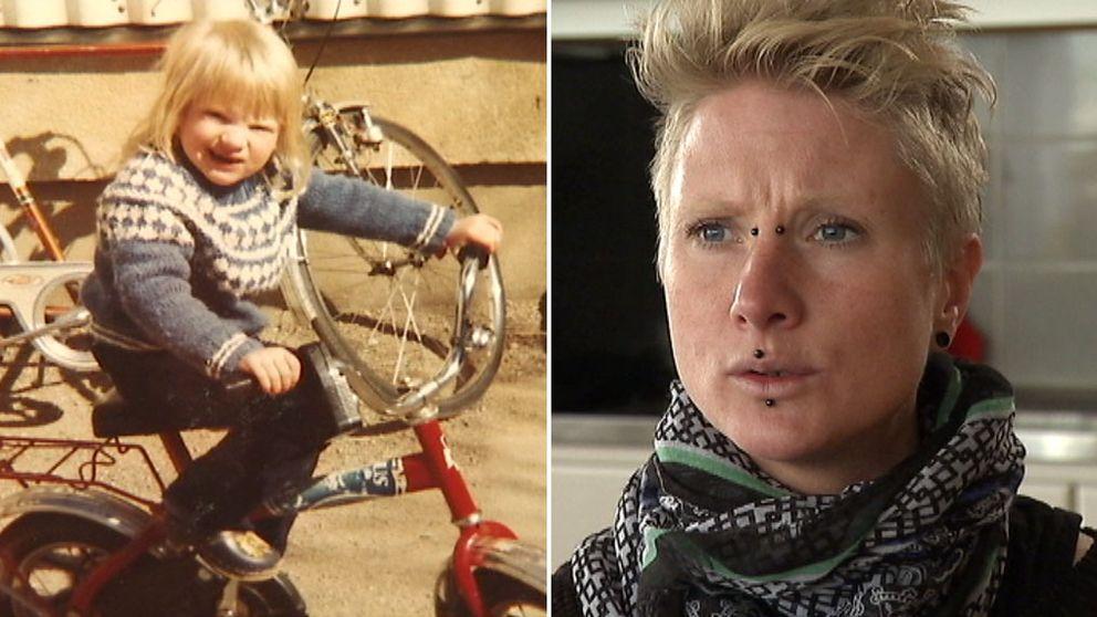 Sofia som barn på cykel och Sofia som vuxen