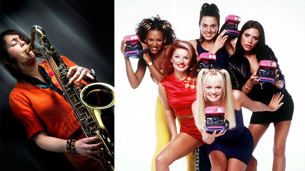 Jazzmusikern Elin Larsson bredvid popbandet Spice Girls.