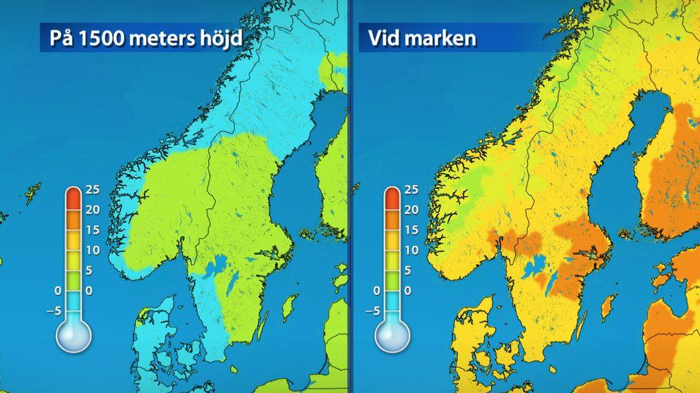Bild1: Temperaturen på 1500 meters höjd och vid marken