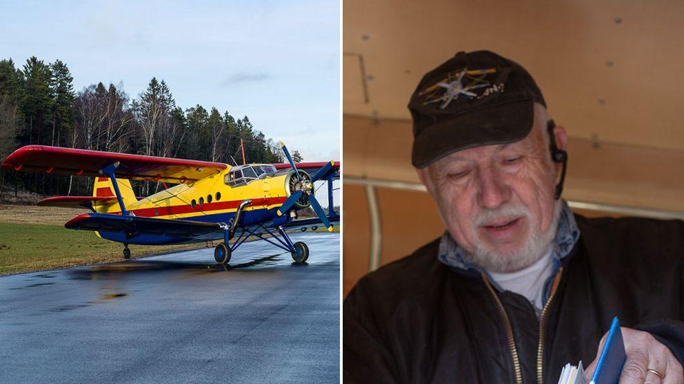 Planet på bilden är av samma modell som det som störtade. Till höger Kjell Brattfors.
