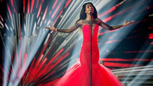 Lettlands Aminata kom sexa i Eurovision Song Contest2015.