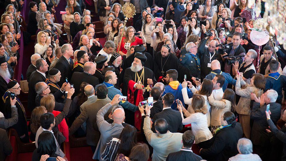 Den syrisk ortodoxa kyrkans högsta andliga ledare, patriark Ignatius Aphrem II, besöker Södertälje