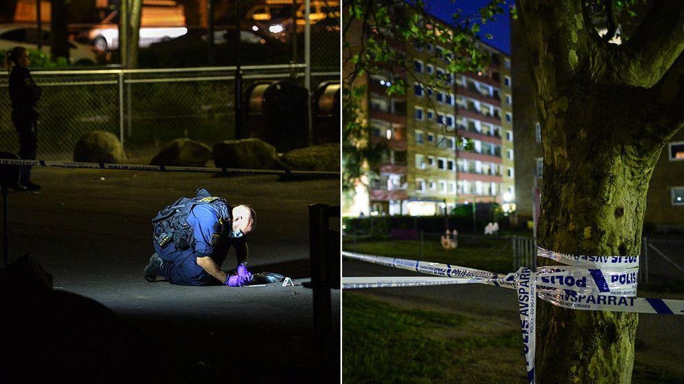 Ett massivt polispådrag efter skottlossning i Malmö.