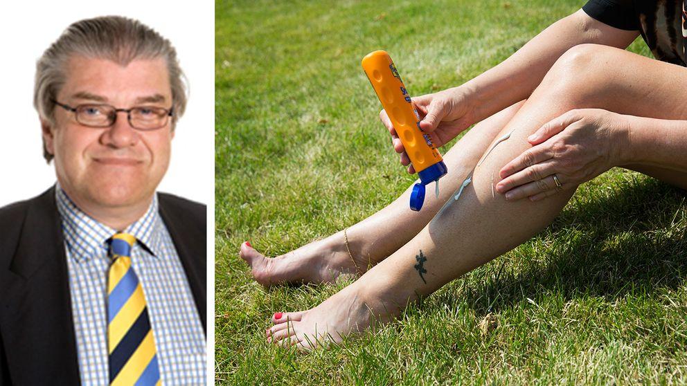 Många av oss tar alldeles för lite solkräm, varnar professor Olle Larkö vid Sahlgrenska universitetssjukhuset. Man bör använda det som komplement till kläder, som är det bästa solskyddet.