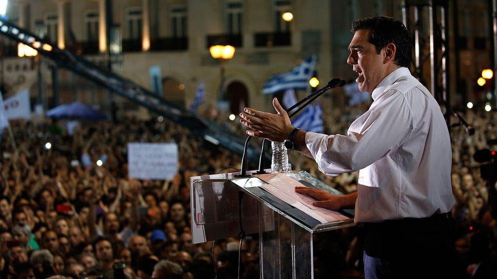 Premiärminister Alexis Tsipras uppmanade i går på ett valmöte grekerna att rösta nej i söndagens folkomröstning.