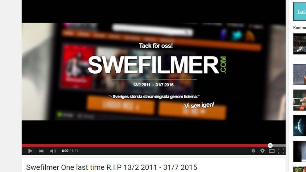 Swefilmer meddelade nedläggningen via Youtube.