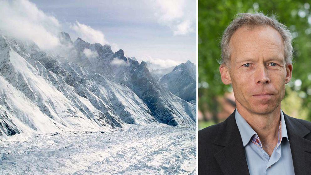Bild på is och Johan Rockström