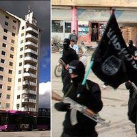 Höghuset i Vivalla / IS-soldater med flagga