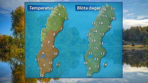 Till vänster: Temperatur under en normal oktoberdag. Till höger: Normalt antal blöta dagar. I söder i stort sett regn, i norr allt mer inslag av snöfall.