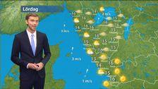 Lasse Rydqvist med väderkarta för stort område
