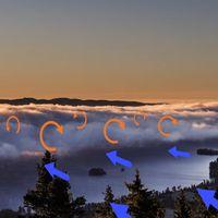 Dimman bildades dels som sjörök. Sen förstärktes sjörökprocessen med att kall luft, som har högre densitet och är således tyngre rinner ner från sluttningarna mot sjön. När den kalla luften möter den fuktigare och varmare luften vid sjön sker en omblandning och den ganska täta dim-korven bildas.