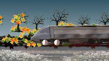 Lövhalka mellan tåg och räls