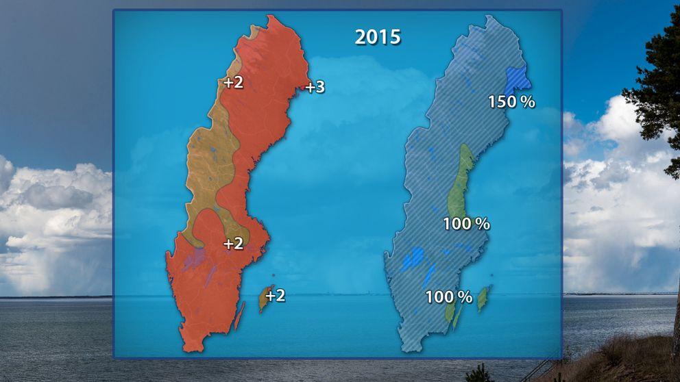 Väderåret 2015 blev varmt och blött.
