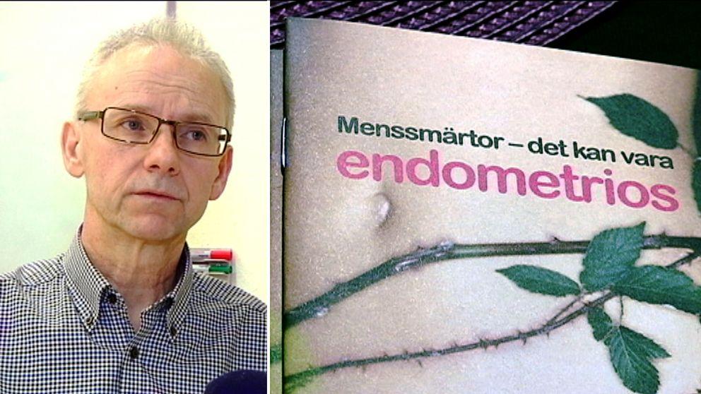 Till vänster: En bild på specialistläkaren Matts Olovsson. Till höger en bunt informationshäften om endometrios, med rubriken Menssmärtor – det kan vara endometrios.