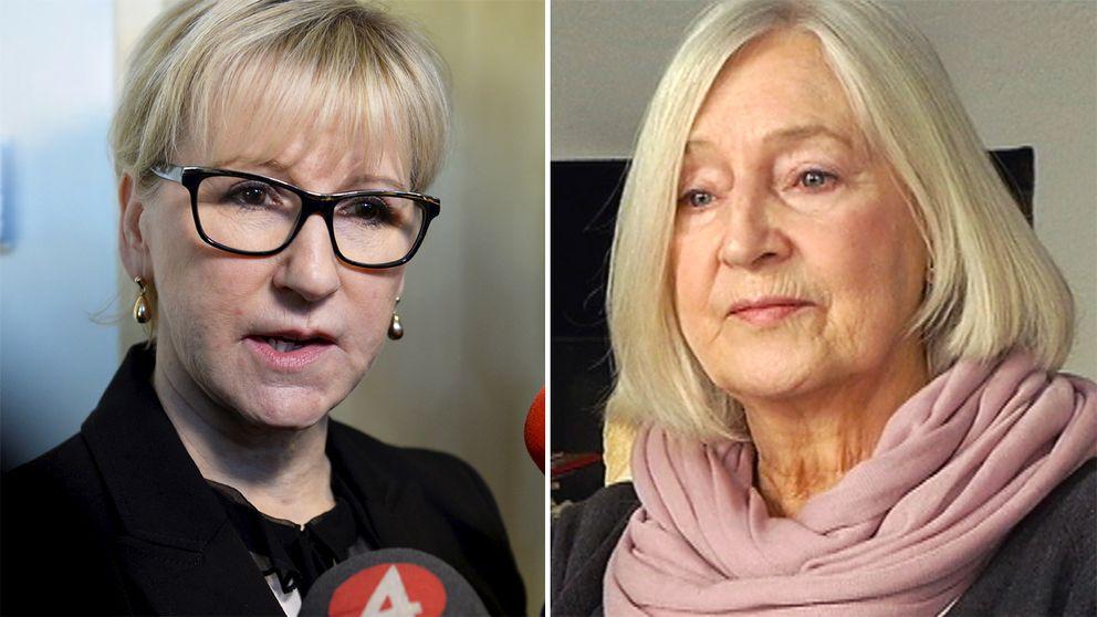 Utrikesminister Margot Wallström och  Inga-Britt Ahlenius, före detta chef för Riksrevisionen..
