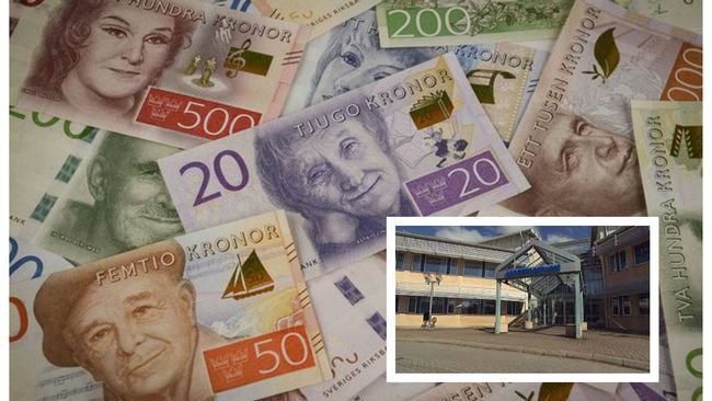 Kollage med sedlar och landstingshuset