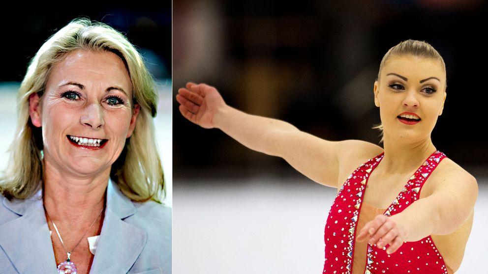 Mångåriga SVT-experten Lotta Falkenbäck (t.v.) och svenska EM-hoppet Joshi Helgesson (t.h.)