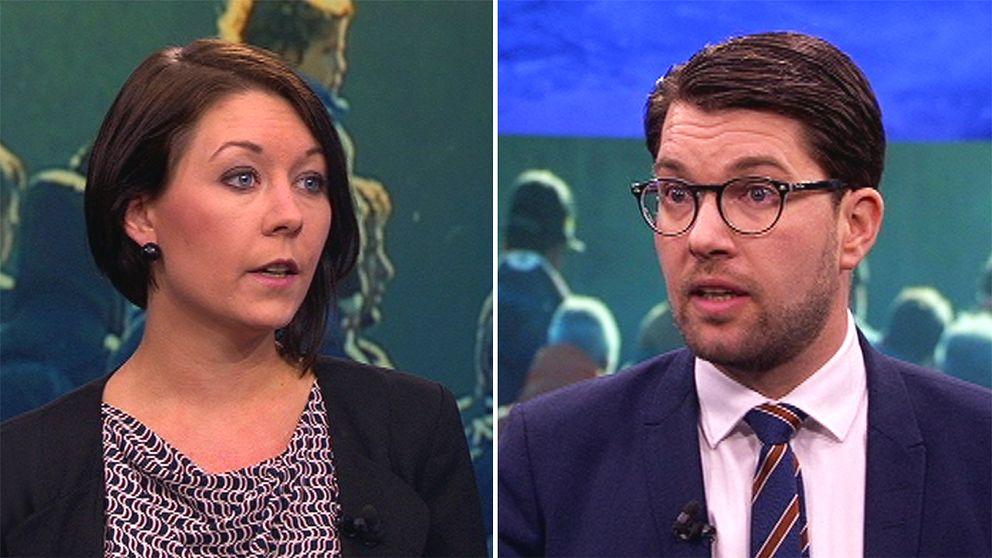 Maria Ferm (MP) och Jimmie Åkesson (SD) i Aktuellt.