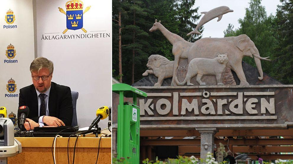 Presskonferens med polisen i Norrköping om åtalet mot förre zoologiske chefen på Kolmårdens djurpark efter dödsfallet 2012.