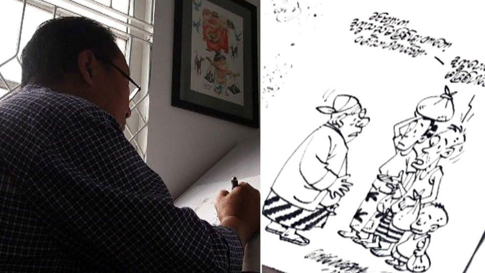 Satirtecknaren Maung Maung Aung
