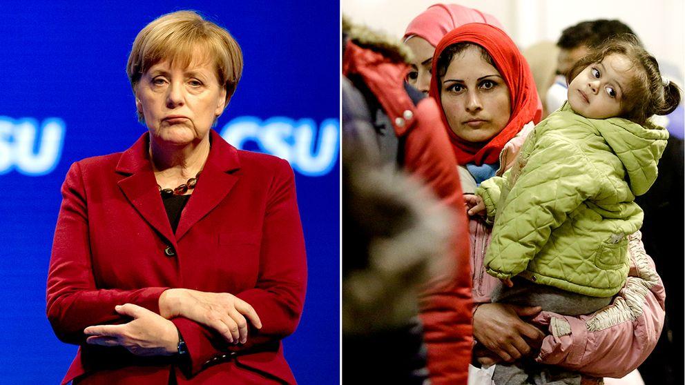 Angela Merkel till vänster och en kvinna med barn i en kö för migranter och flyktingar vid tågstationen Schoenefeld nära Berlin.