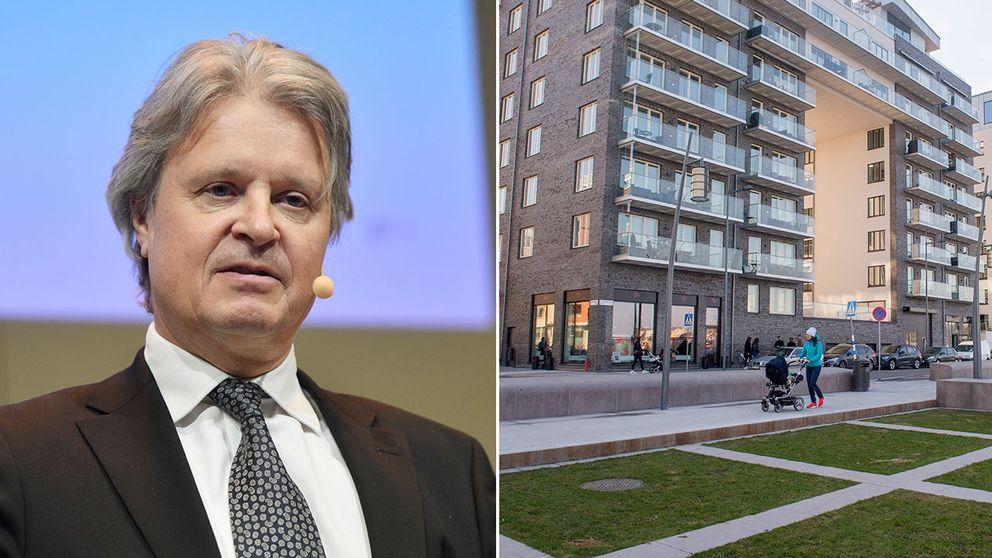 Nordeas nya vd, Casper von Koskull, och en bild på en fastighet på Hornsgatan.
