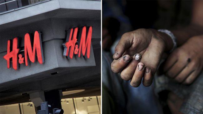 Klädesföretaget H&M och en barnarbetares hand.