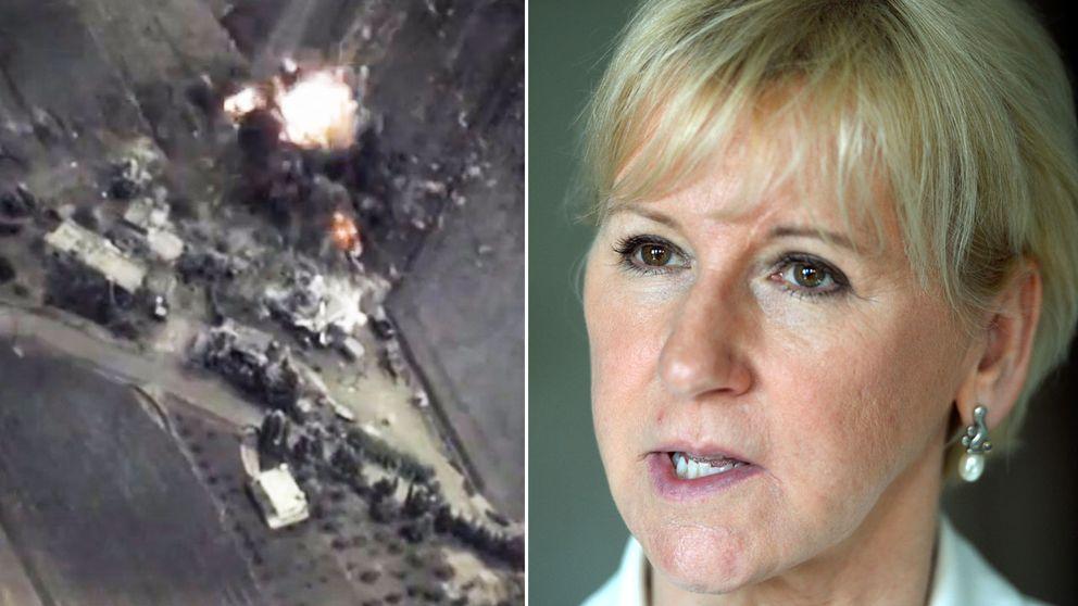 Utrikesminister Margot Wallström (S) är orolig kring de ryska anfallen i Syrien.