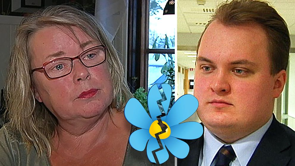 Sverigedemokraterna i Enköping tycks mycket splittrade. Till vänster Kristina Einarsdotter, SD-ordförande i Enköping, och till höger riksdagsledamoten Pavel Gamov (SD)