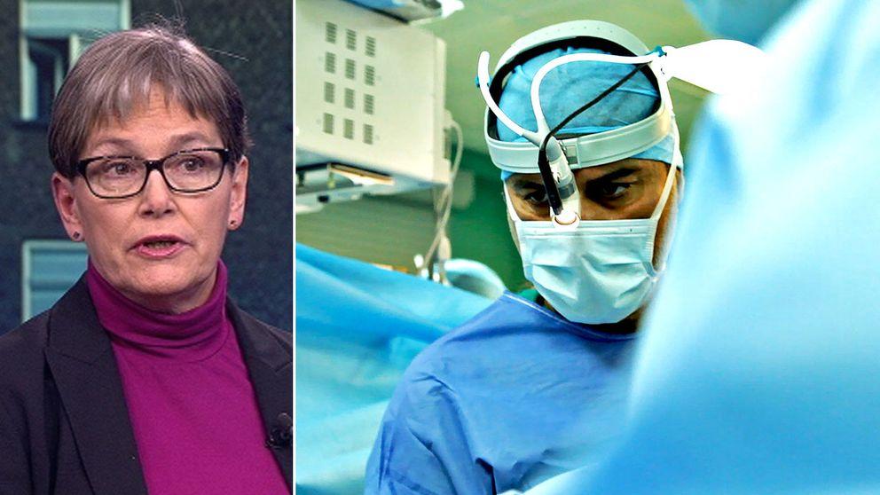 Nina Nelson Follin, chefläkare Karolinska universitetssjukhuset. Till höger i bild kirurgen Paolo Macchiarini.