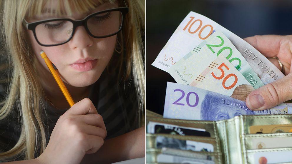 En flicka med glasögon gör sin läxa. En bild på en plånbok med nya sedlar.