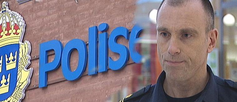 Polisskylt och Fredrik Malm, områdespolis