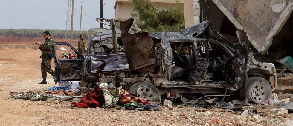 Syriska armén i byn Kiffin utanför Aleppo. Arkivbild.