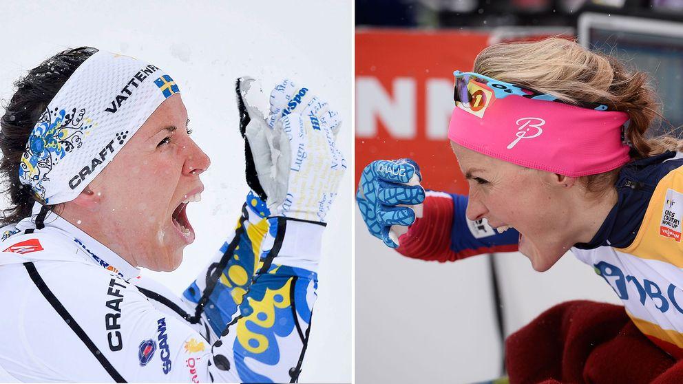 Charlotte Kalla och Therese Johaug.