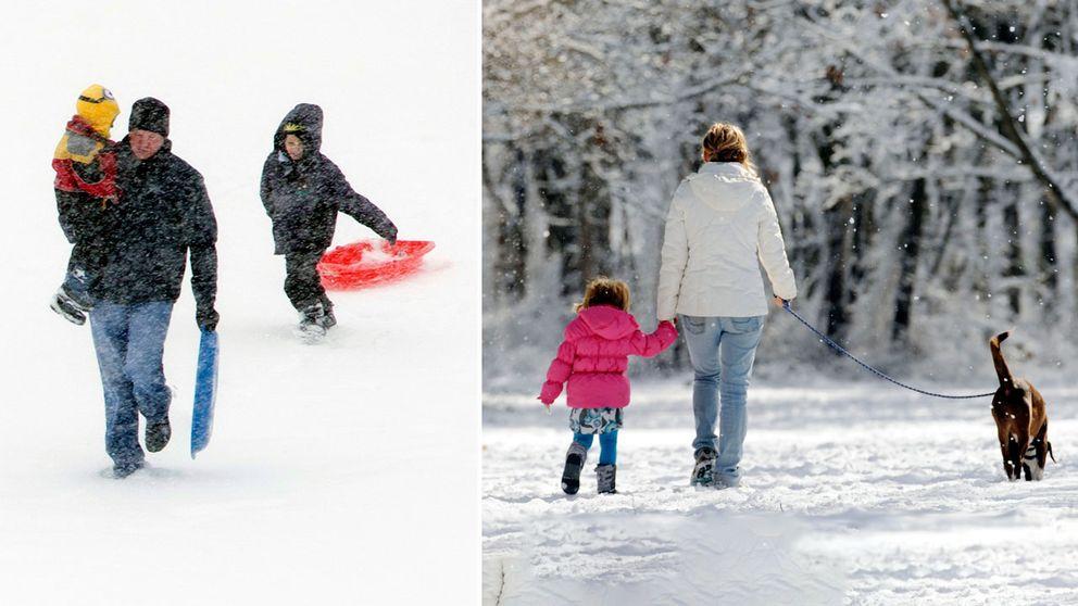 Familjer i snö.
