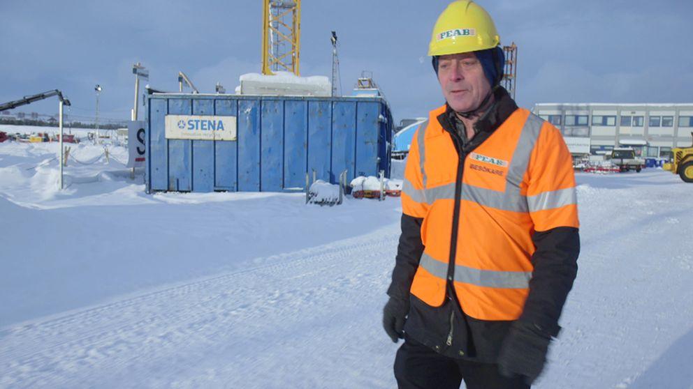 Göran Cars på en byggarbetsplats i Kiruna.