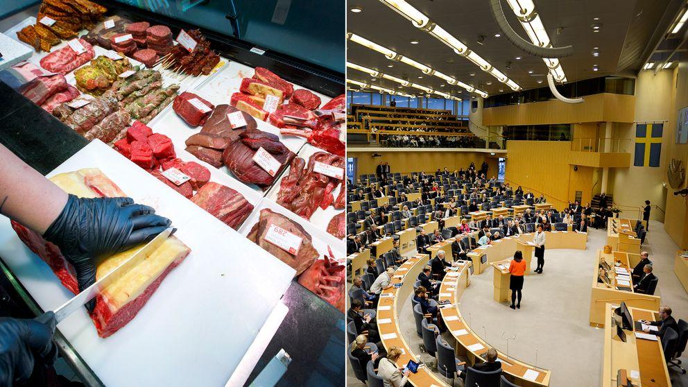 V, S, MP och L är för en minskad köttkonsumtion – M, SD, C och KD vill jobba för en minskad köttkonsumtion.