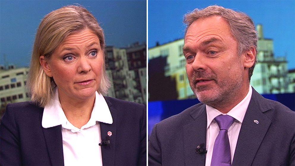 Magdalena Andersson och Jan Björklund i Aktuellt.