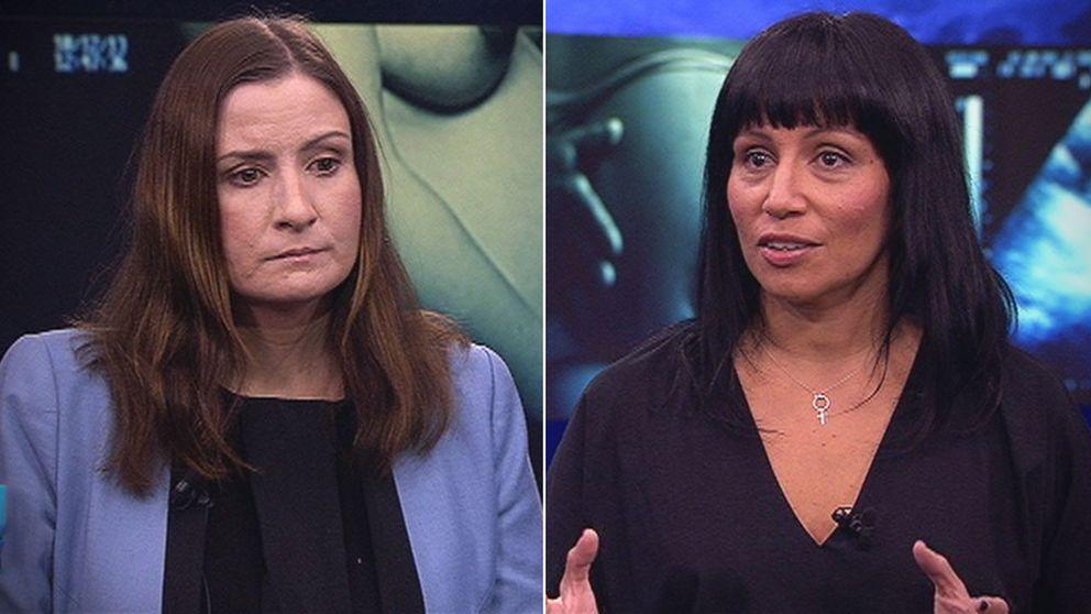 Birgitta Ohlsson (L) och Rossana Dinamarca (V) i debatt i Aktuellt.