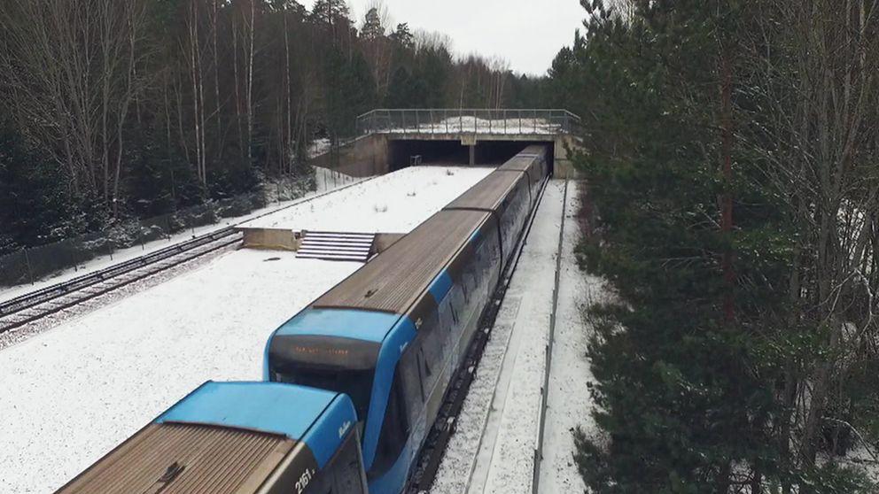 Den oöppnade stationen i Kymlinge i Sundbyberg i norra Stockholm.