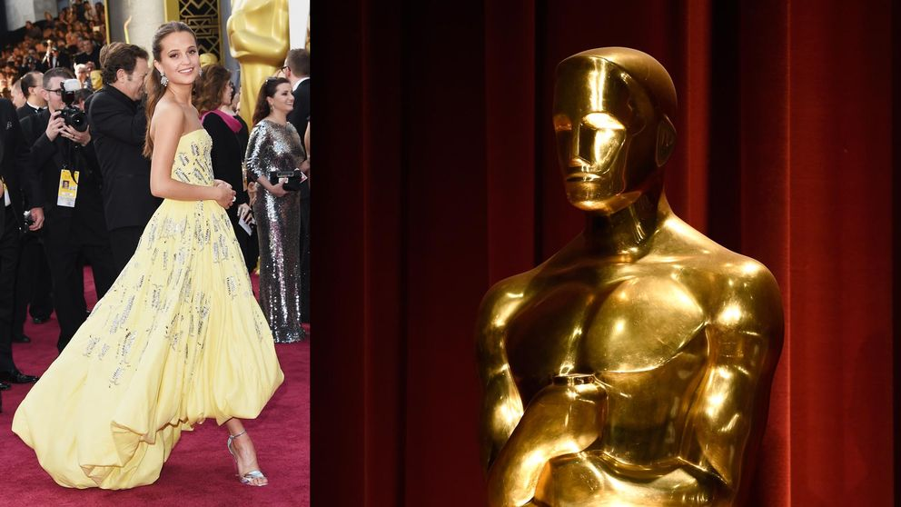 Alicia Vikander på röda mattan inför Oscarsgalan.